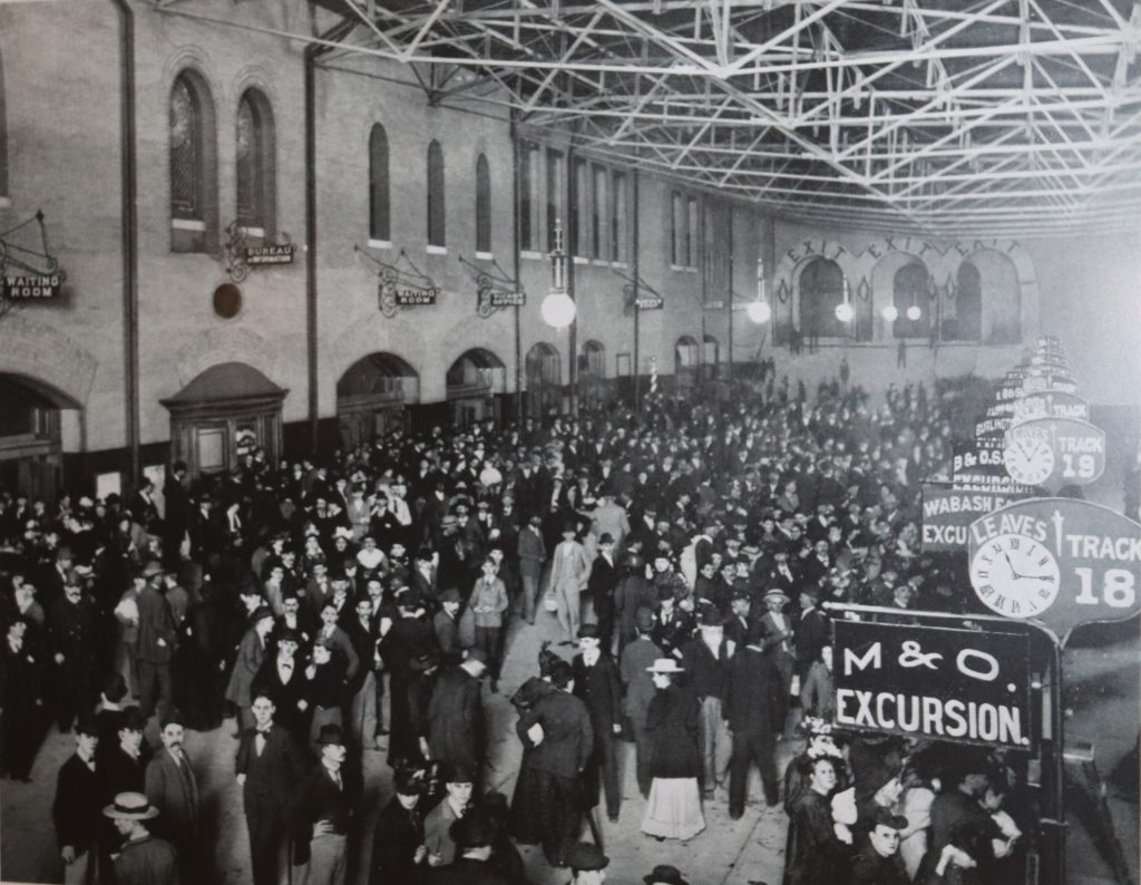 Travelers packing Union Station, Black and White Photo