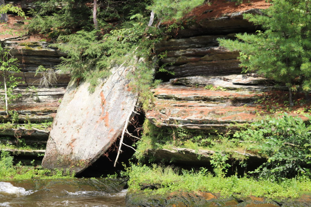sandstone cliff on the river bank