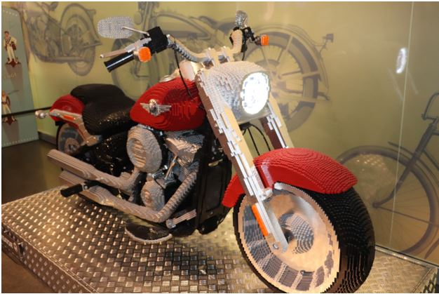 Full size Harley motorcycle made of legos