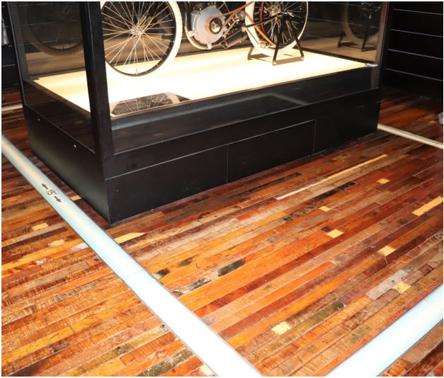 Display case with lines on the floor