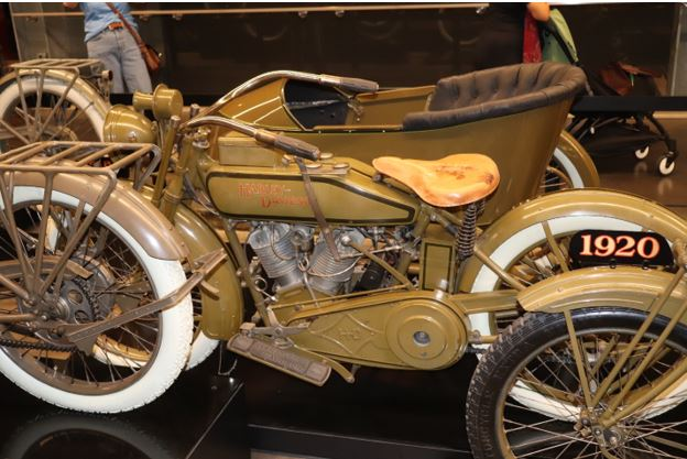 A 1920 Harley Davidson with side car