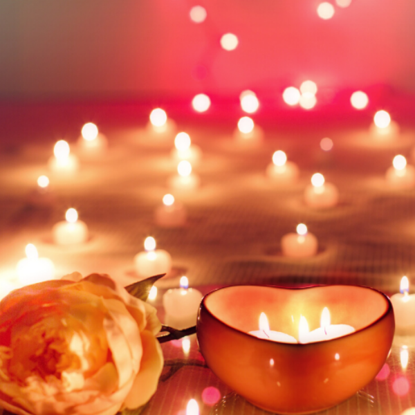 heart candles and roses