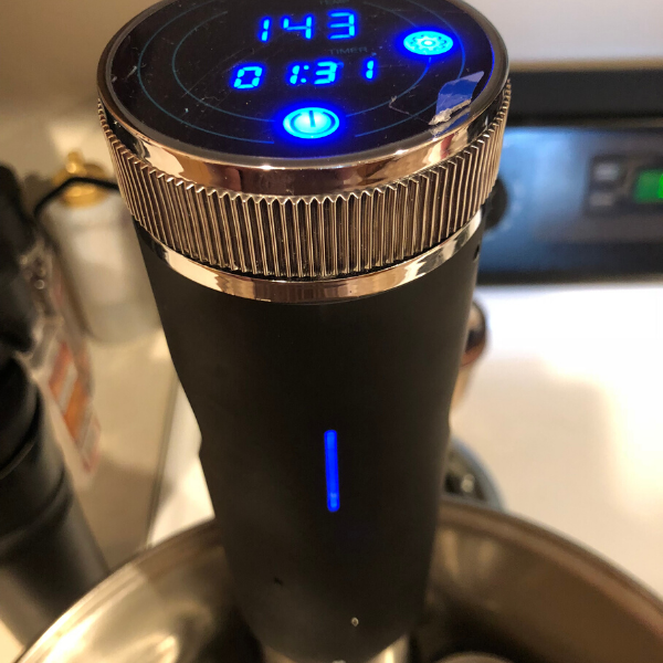 Sous vide cooker in water