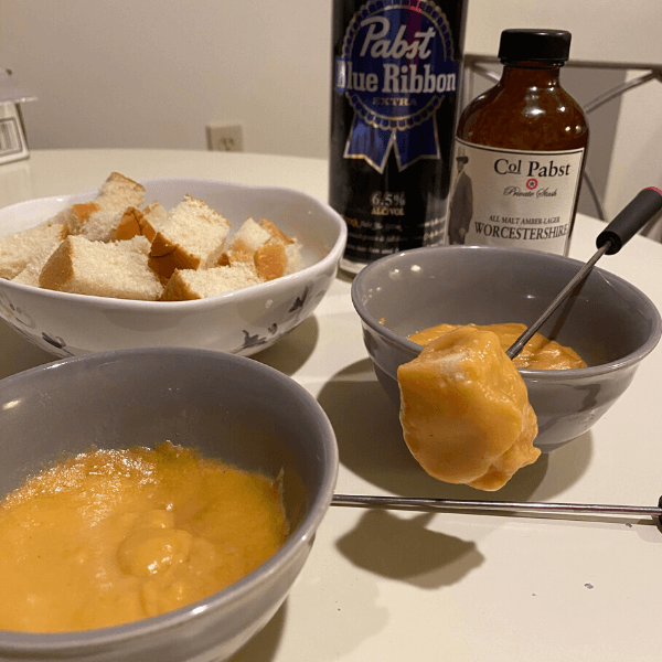 Beer cheese fondue with Pabst beer