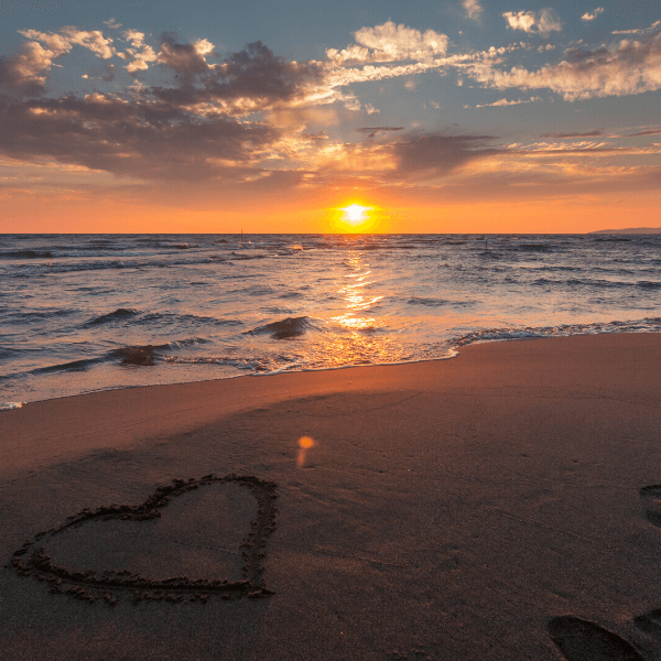 Romantic beach at sunset