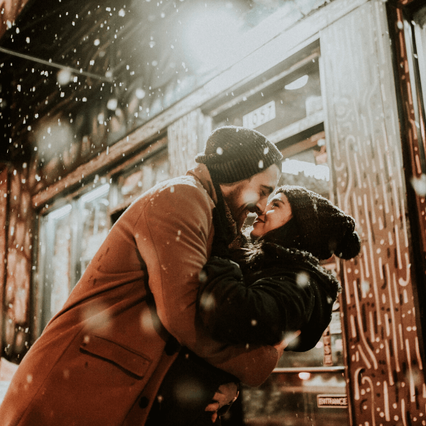 Kissing in the snowstorm
