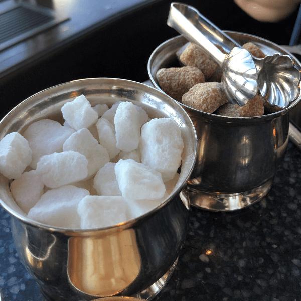 Sugar and raw sugar in Slver at the Pfister