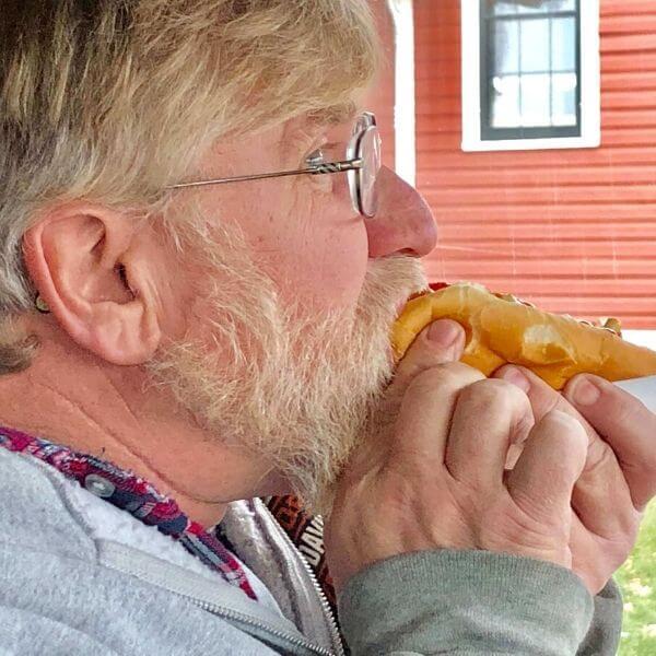 Gary eating a brat