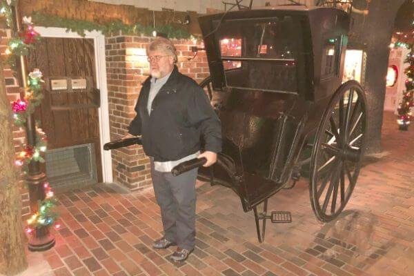 Gary pulling a cart at The House on the Rock