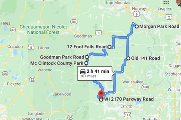 Our google waterfall map Chequamegon Nicolet national Forest