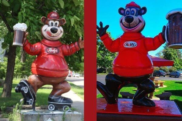 Rudy Bear and A&W Rooty Bear from a local drive-in