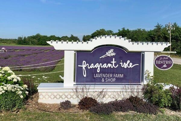 Fragrant Isle Lavender Farm and shop sign