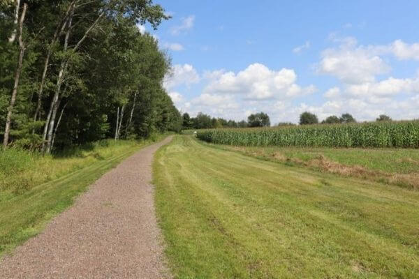 Path leading to the 45x90 marker in the middles of a corn field