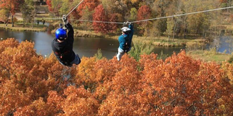 Zip Line in the Wisconsin Dells in the fall