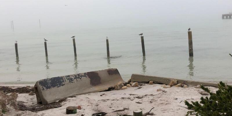 Destruction on the city pier