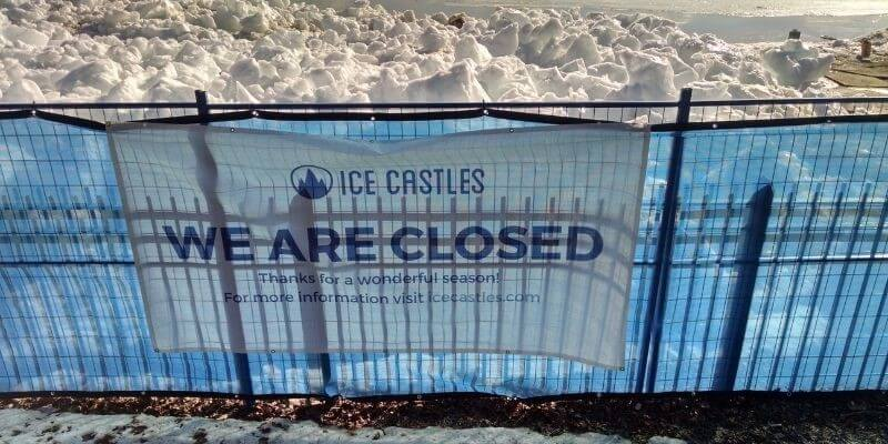 Ice Castle closed sign
