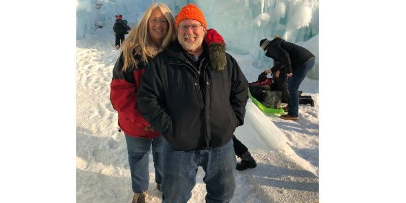Gary and Michelle at Lake Geneva Ice Castle
