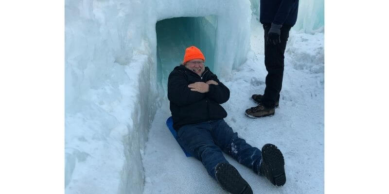 Gary on the ice slide
