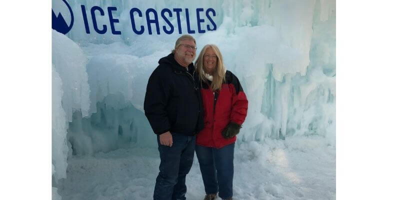 Gary and Michelle at the ice castles