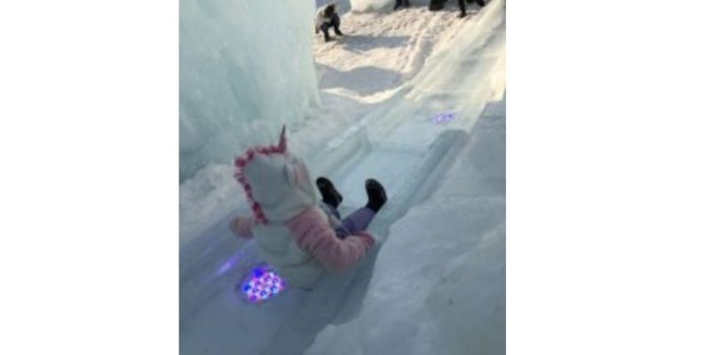 Child on the ice slide