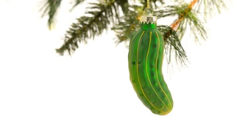 Christmas tradition of haning a pickle ornament