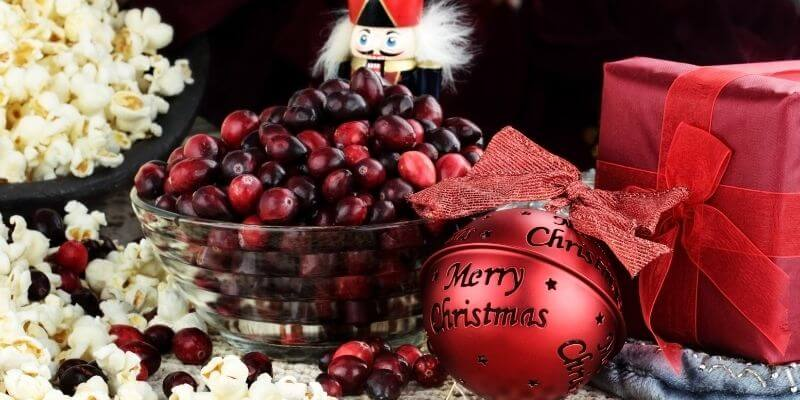 Christmas tradition of popcorn and cranberries