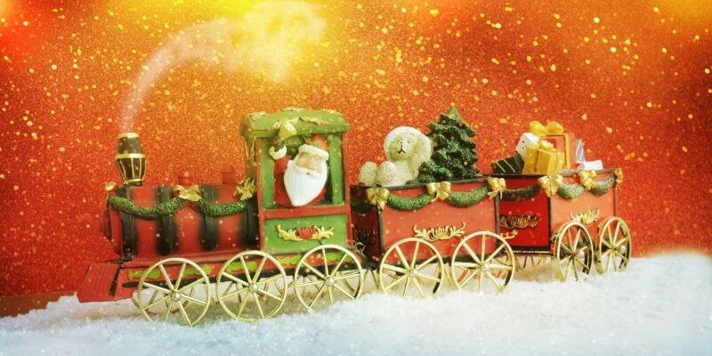 Christms tradition of a train under the Christmas tree