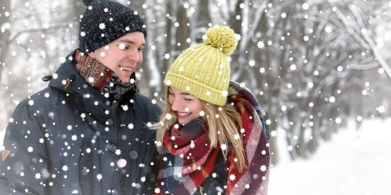 Christmas date idea walk in the snow