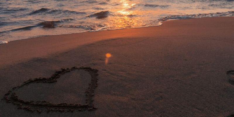 romantic beach at sunset