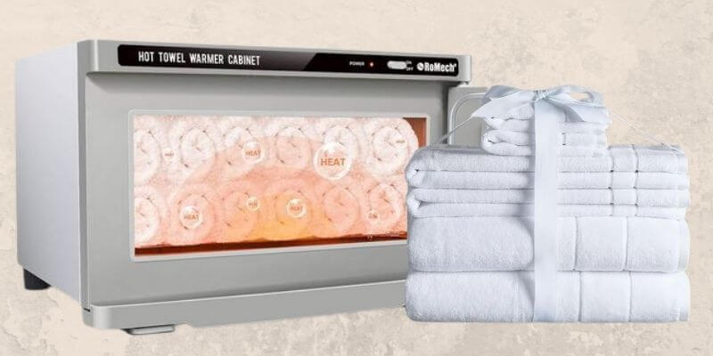 Spa towels and warmer
