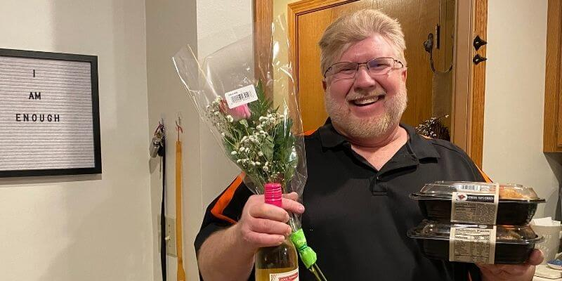 Gary with flowers